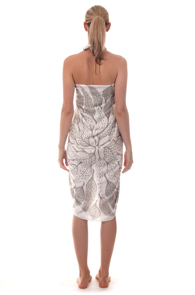 Lotty B Sarong in Silk Charmeuse ~ Leaves (Lichen) Back