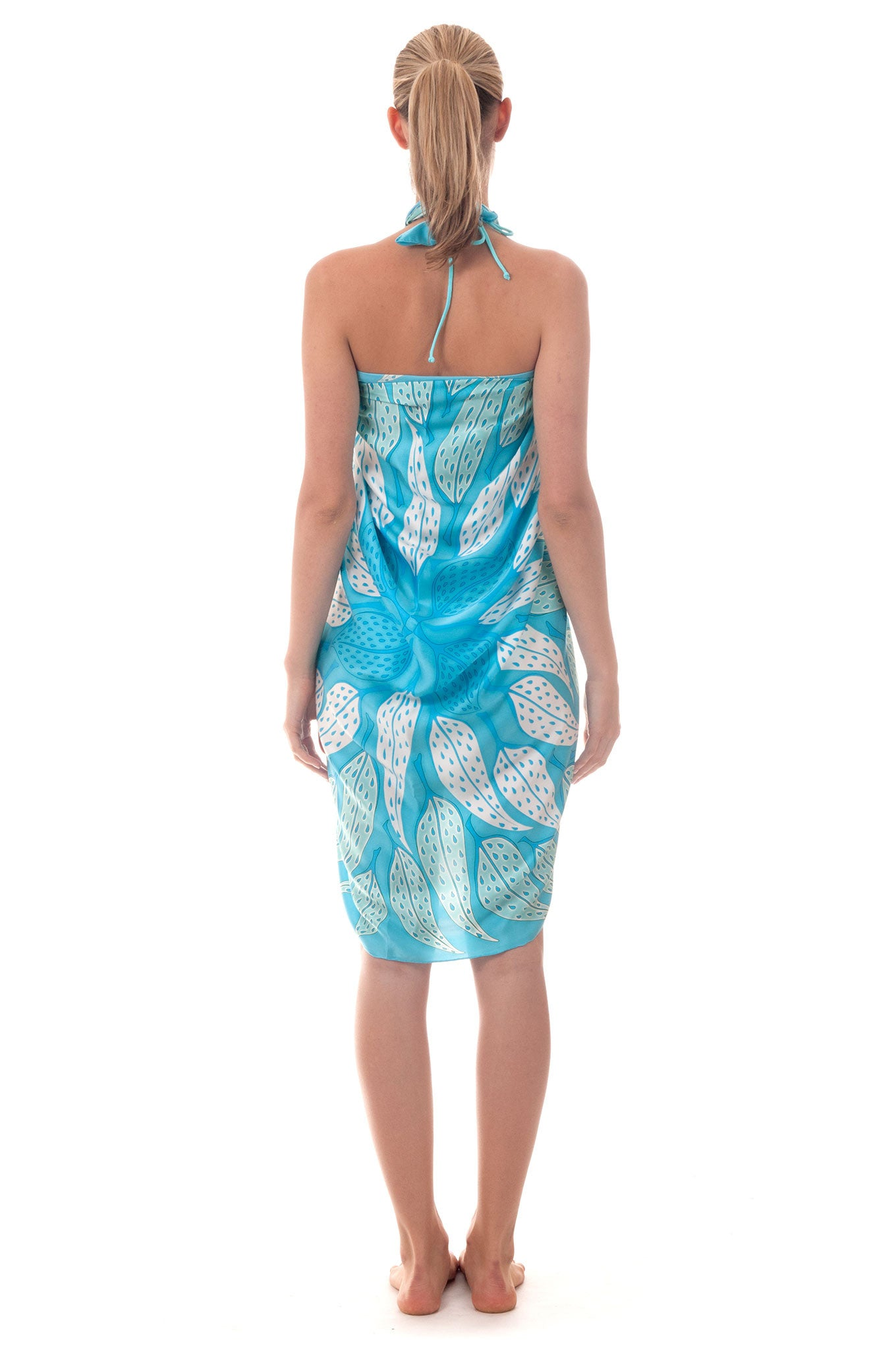 Lotty B Sarong in Silk Charmeuse ~ Leaves (Turquoise) Back