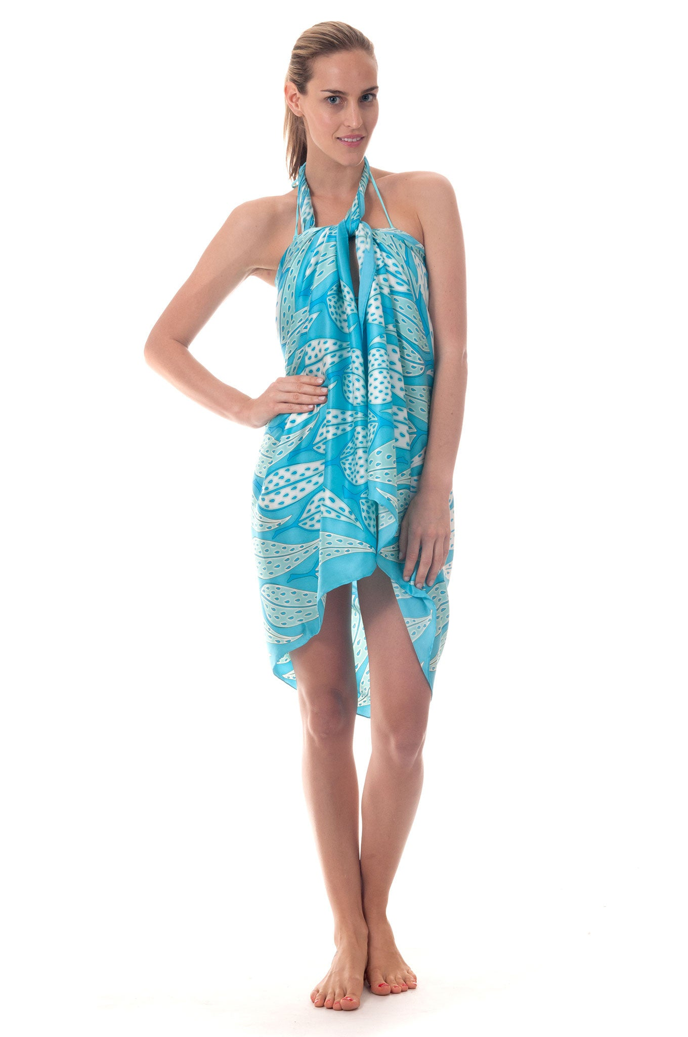 Lotty B Sarong in Silk Charmeuse ~ Leaves (Turquoise) Front