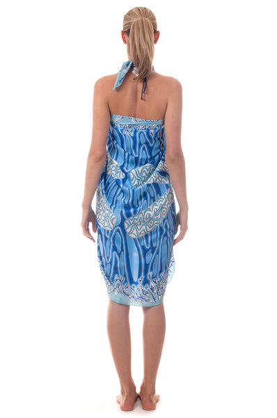 Lotty B Sarong in Silk Charmeuse ~ Pelican (Blue) Back