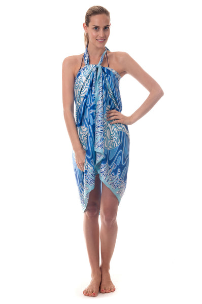 Lotty B Sarong in Silk Charmeuse ~ Pelican (Blue) Front