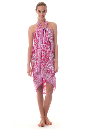Lotty B Sarong in Silk Charmeuse ~ Pelican (Pink) Front