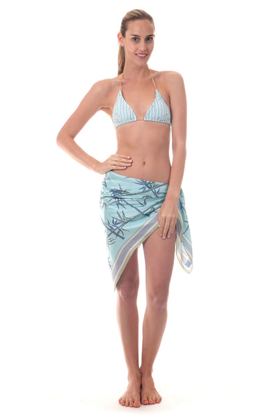 Lotty B Silk Charmeuse Scarf ~ Bamboo (Pale Blue) Front