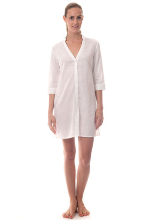 Womens Shirt Dress (White) Front