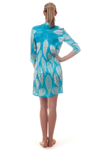 Lotty B Shirt Dress ~ Leaves (Turquoise) Back