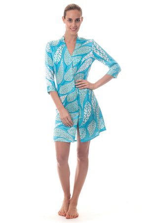 Lotty B Shirt Dress ~ Leaves (Turquoise) Front