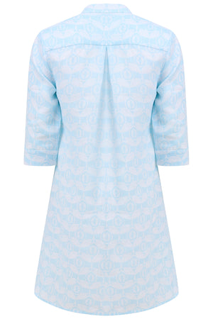 Womens flared Decima dress in pale blue Guava print, holiday fashion by Lotty B Mustique