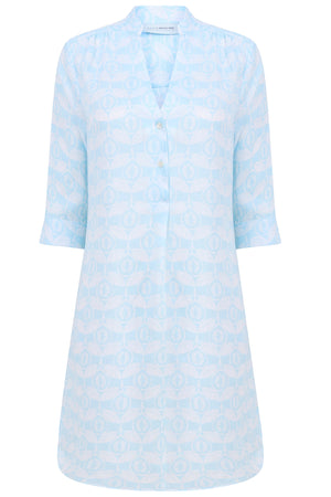 Womens flared Decima dress in pale blue Guava print, resort fashion by Lotty B Mustique