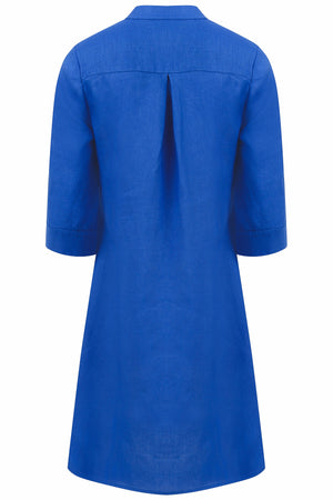 Linen Decima Dress in dazzling blue, designer Lotty B Mustique high summer