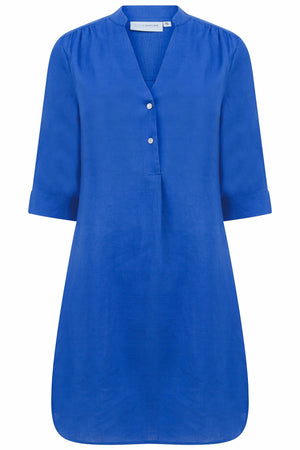 Linen Decima Dress in dazzling blue, designer Lotty B Mustique vacation fashion
