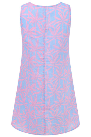 Womens Linen Slip Dress: BANANA TREE - PINK back, Caribbean holiday styles by Lotty B Mustique
