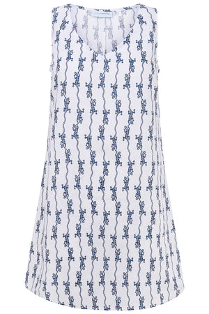 Womens Linen Slip Dress: GECKO - NAVY Pink house Mustique designer Lotty B