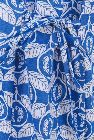 Womens Linen Sun Dress pocket detail, Guava blue print by Lotty B Mustique