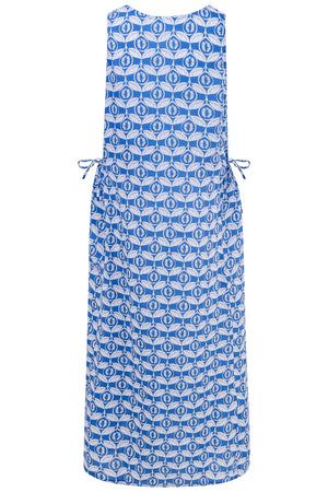 Womens Linen Maxi Sun Dress back detail, Guava blue print by Lotty B Mustique