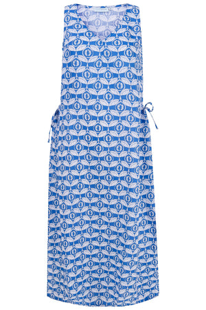 Womens Linen Maxi Sun Dress, Guava blue print by Lotty B Mustique