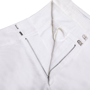 Womens Linen Shorts : CLASSIC WHITE fastening detail, designer Lotty B Mustique