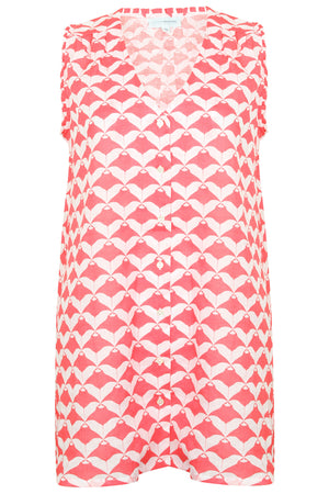 Womens Linen Beach Dress: MANTA RAY - RED