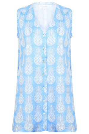 Womens Linen Beach Dress: PINEAPPLE - BLUE
