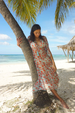 Silk Ellie Kaftan: FLAMBOYANT FLOWER - ORANGE 3/4 length chiffon silk beach wear designer Lotty B Mustique Lagoon Bay