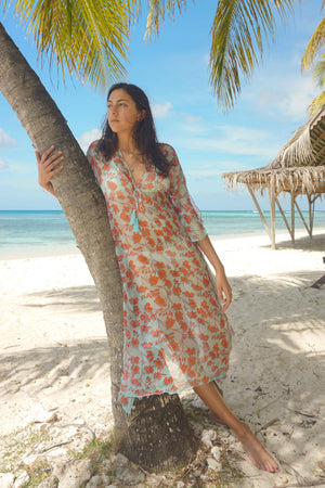 Silk Ellie Kaftan: FLAMBOYANT FLOWER - ORANGE 3/4 length chiffon silk floral resort wear designer Lotty B Mustique Lagoon Bay
