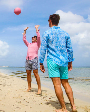 Mens Linen Shirt : BANANA TREE - BLUE designer Caribbean holiday style, Pasture Bay, Mustique lifestyle