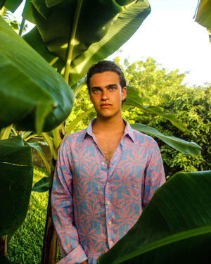 Mens Linen Shirt : BANANA TREE - PINK designer Lotty B Mustique Summer Fashion