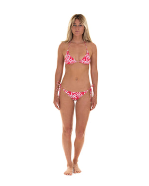 Womens Triangle Bikini : BANANA TREE - RED Caribbean Vacation Wear designed by Lotty B Mustique
