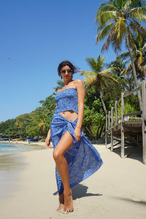 Lotty B Sarong in Silk Crepe-de-Chine: FLAMBOYANT FLOWER - BLUE designer Lotty B Mustique beautiful holiday & beach fashion