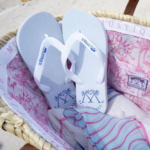Adult Flip flops: LOGO - WHITE in beach basket