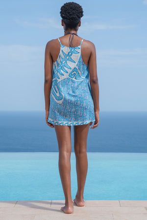 Lotty B Beach Dress in Cotton (Shark, Blue) Back