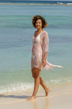 Lotty B Short Kaftan in Chiffon (Seahorse, Pink) Lagoon beach Mustique