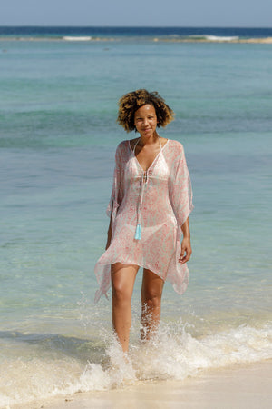 Lotty B Short Kaftan in Chiffon (Seahorse, Pink) beach life Mustique