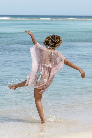 Lotty B Short Kaftan in Chiffon (Seahorse, Pink) beach style
