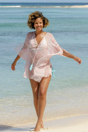 Lotty B Short Kaftan in Chiffon (Seahorse, Pink) beach luxury