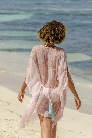 Lotty B Short Kaftan in Chiffon (Seahorse, Pink) luxury holiday Mustique
