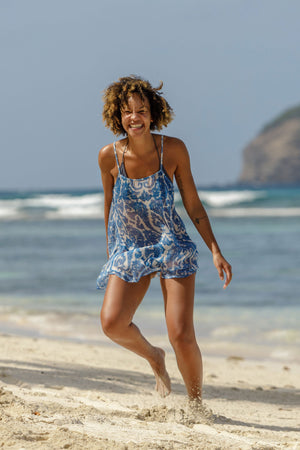 Lotty B Beach Dress in Silk Chiffon (Seahorse, Blue) dancing on the beach Mustique