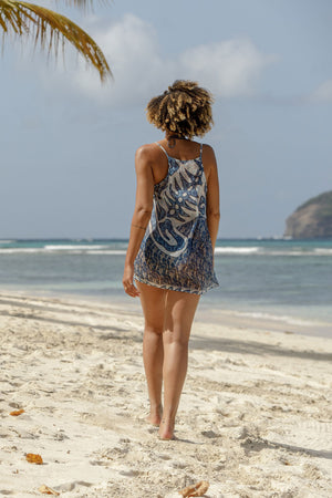 Lotty B Beach Dress in Silk Chiffon (Shark, Grey) back Mustique beaches