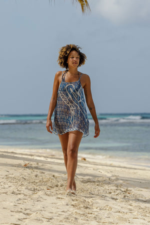 Lotty B Beach Dress in Silk Chiffon (Shark, Grey) Mustique beach life