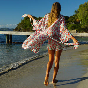 womens floral silk bed to beach robe designer Lotty B Mustique lifestyle