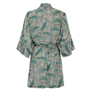 Bed-to-Beach Robe: WHALE - MONOCHROME