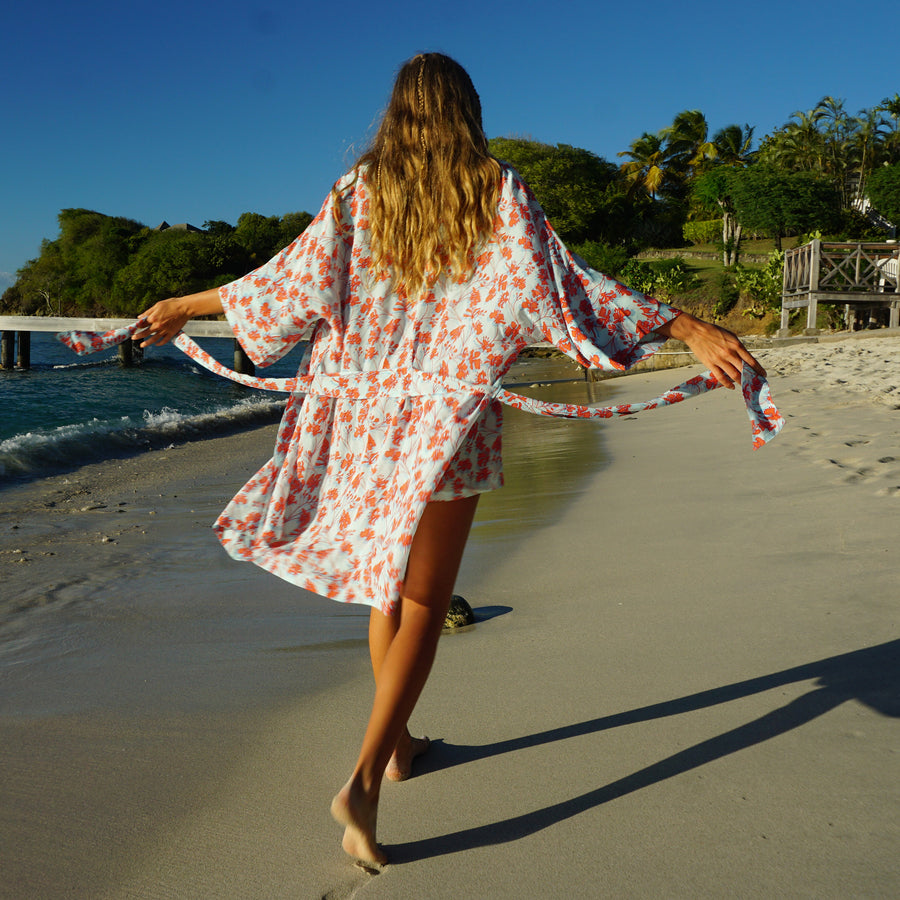 pure silk bed to beach robe designer Lotty B Mustique luxury resort wear fashion