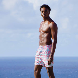 Mens swim shorts: BEETLE - RED / PALE BLUE