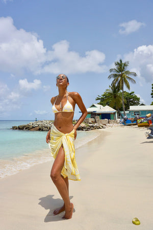 Lotty B Sarong in Cotton: FAN PALM - YELLOW cover-up