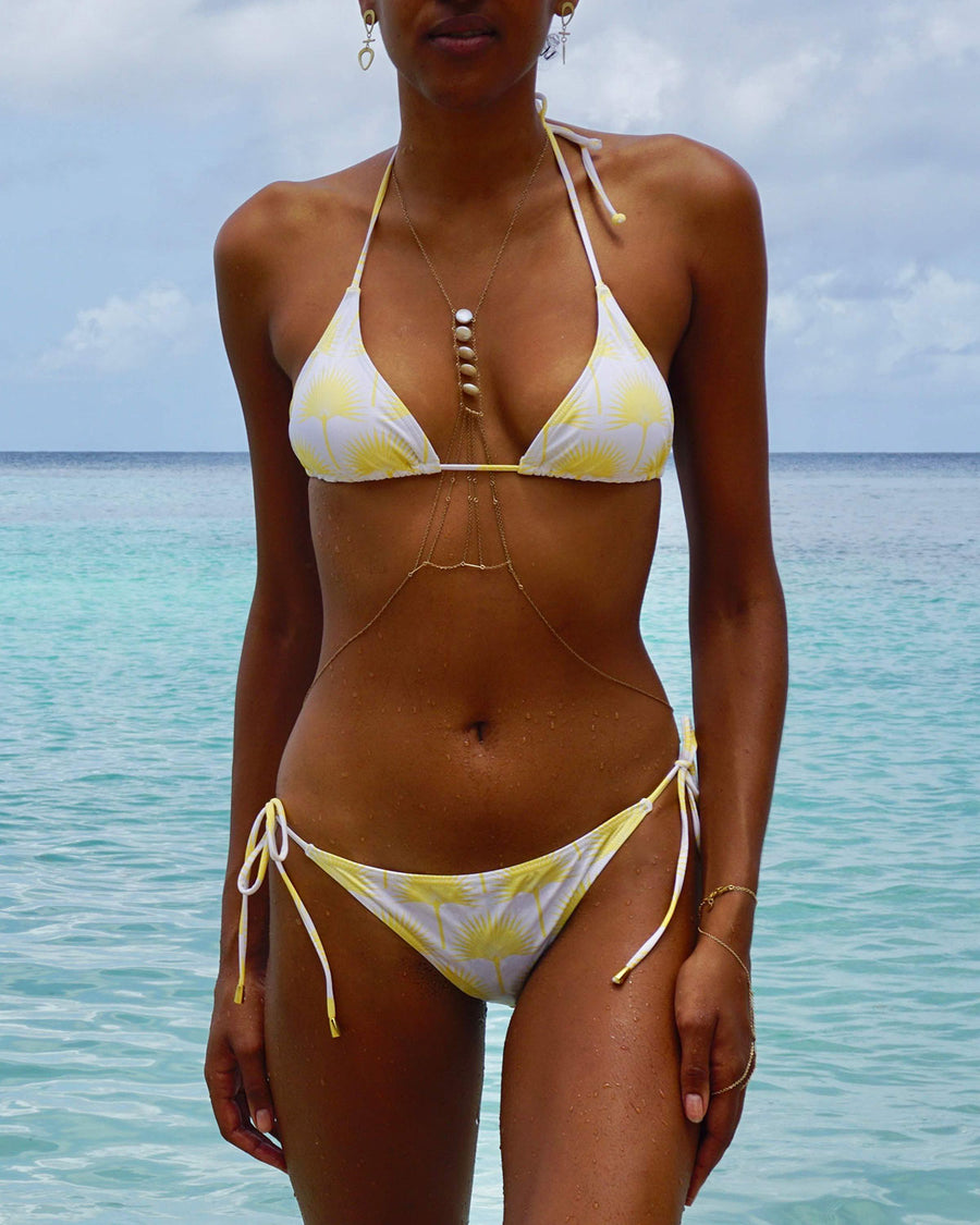 Womens Triangle Bikini : FAN PALM YELLOW