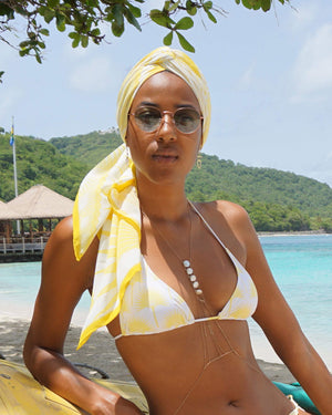 Womens Triangle Bikini : FAN PALM YELLOW worn with Lotty B silk head scarf