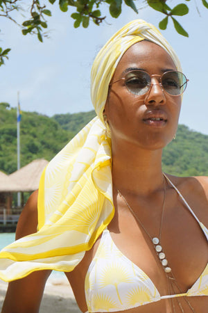 Lotty B Sarong in Silk Crepe-de-Chine: FAN PALM - YELLOW Mustique style head scarf