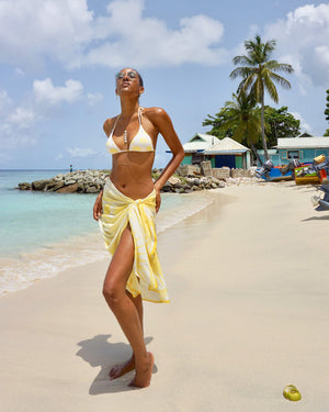 Womens Triangle Bikini : FAN PALM YELLOW designer Lotty B Mustique Caribbean swimwear fashion