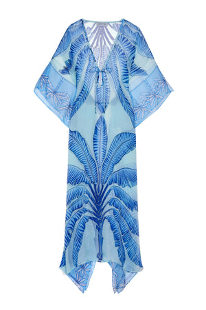 Ellie Kaftan: BANANA TREE - BLUE by designer Lotty B Mustique long kaftan