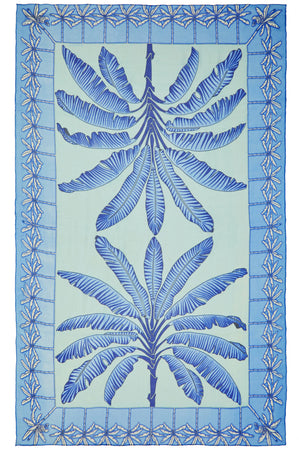 Large chiffon silk sarong scarf, Banana Tree print in blue designed by Lotty B Mustique