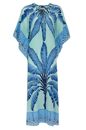 Jenlee Kaftan: BANANA TREE - BLUE by Lotty B Mustique Resortwear